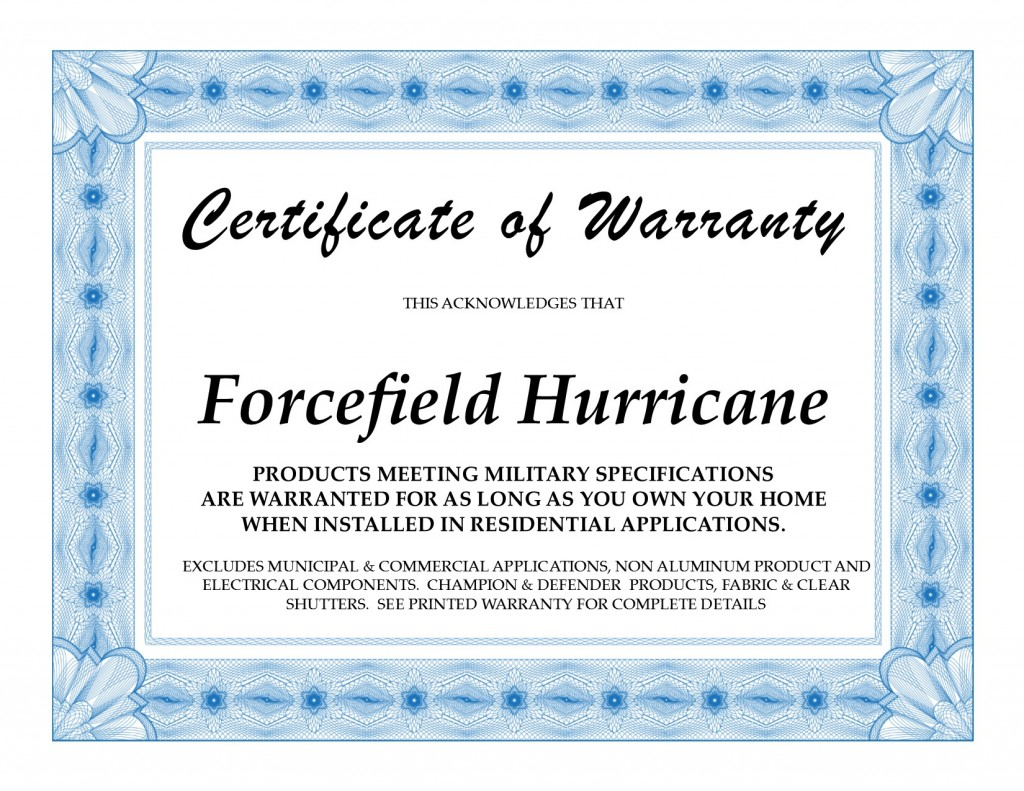 Forcefield Available Warranty
